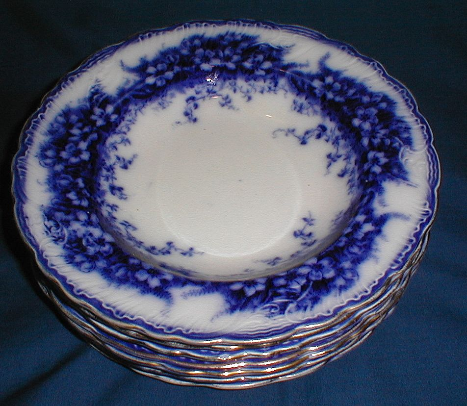 Lovely Dark Flow Blue Floral Soup Plate, 7 Available