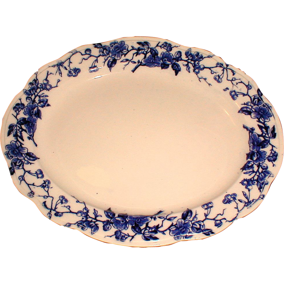 Large Flow Blue Platter, HUGO, James Kent, Staffordshire Pottery