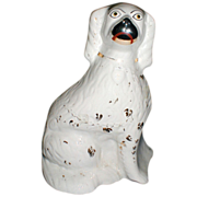 Very Large 19th C. White Staffordshire Dog (Spaniel), Single