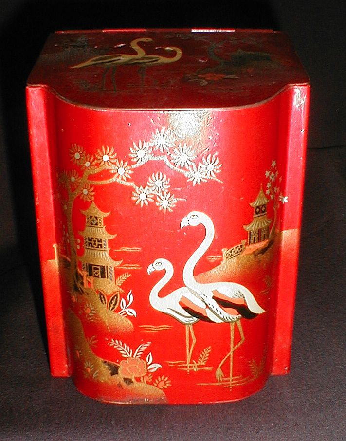 Lovely Chinoiserie Red Lacquer Tin or Bin, Baret Ware