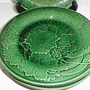 Antique English Green Majolica Plate, Leaves (4 available)