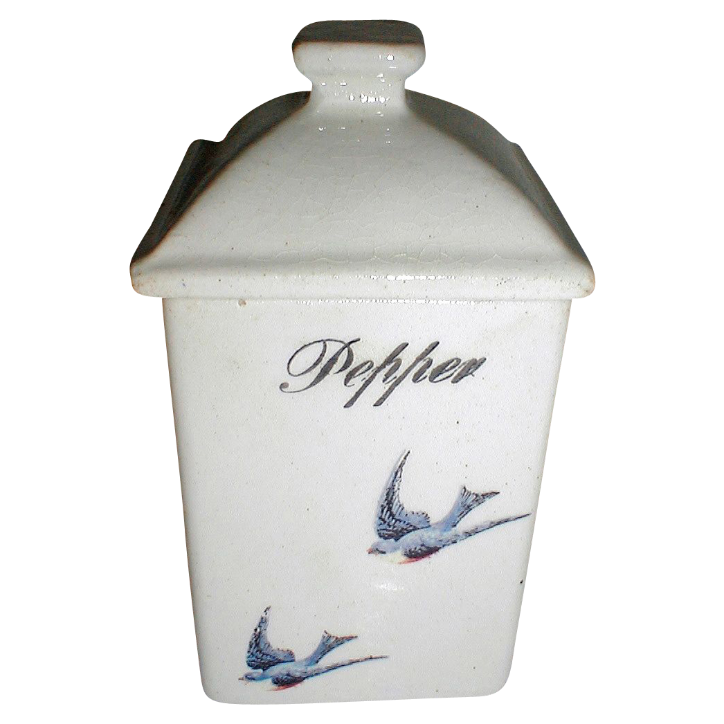 Lovely Bluebird China Pepper Jar (Canister)