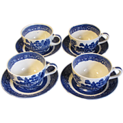 Group of 4 Homer Laughlin Blue Willow Cup & Saucer Sets