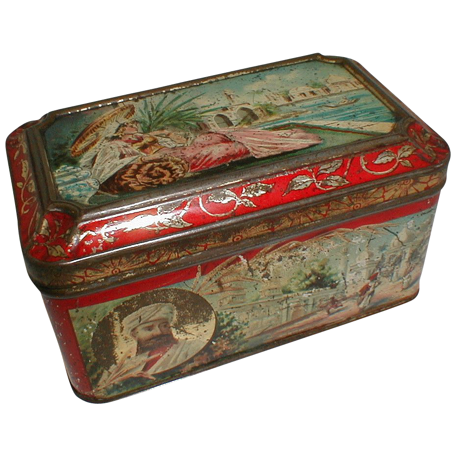 Wonderful Early Biscuit Tin Box, Egyptian Motif, Not Marked
