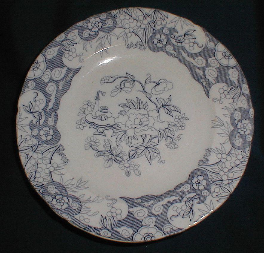 Lovely Blue Transferware Plate, Oriental Design, ca 1846