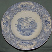 Lovely Blue Transferware Soup Plate, TRIUMPHAL CAR, Bell