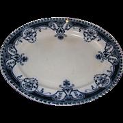 Large Flow Blue Art Nouveau Pattern Platter, ASHTON