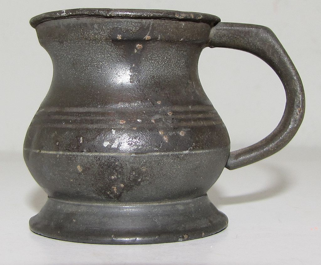 Lovely Bulbous British Pewter Measure, ca 1824-30