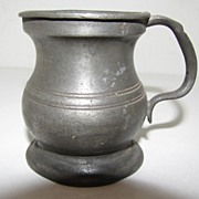 Ca 1880 British Bulbous (Bellied) Pewter Measure, 1 Gill