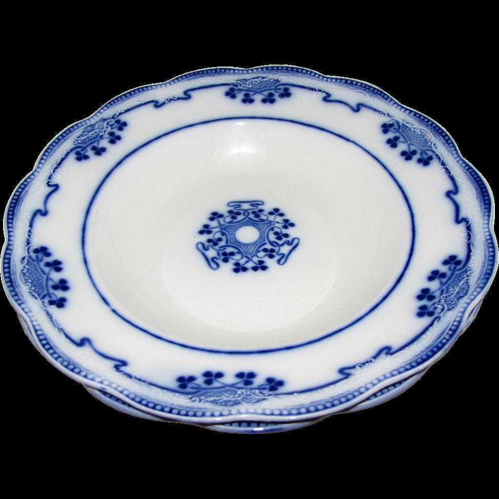 Pair Lovely Flow Blue Soup Plates LORNE Grindley