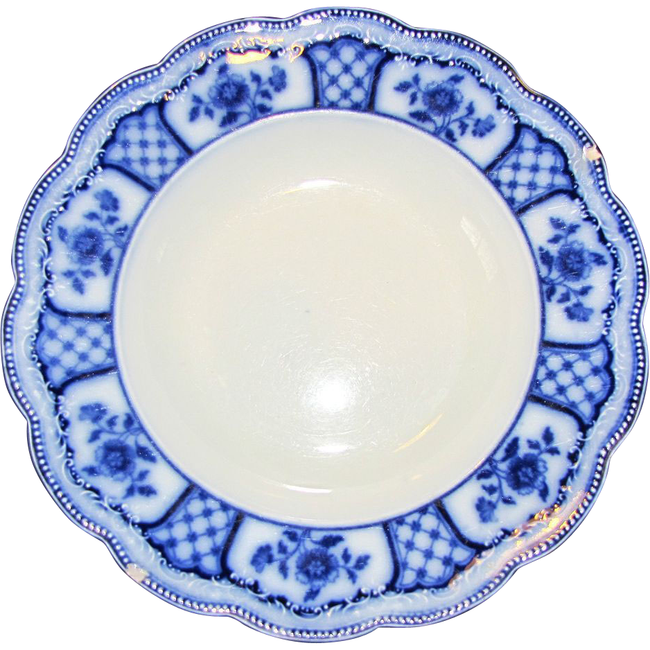 Group of 4 Flow Blue Soup Plates MELBOURNE Grindley