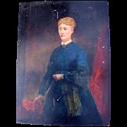 Lovely Antique Folk Art Oil Painting on Board, Portrait of Lady