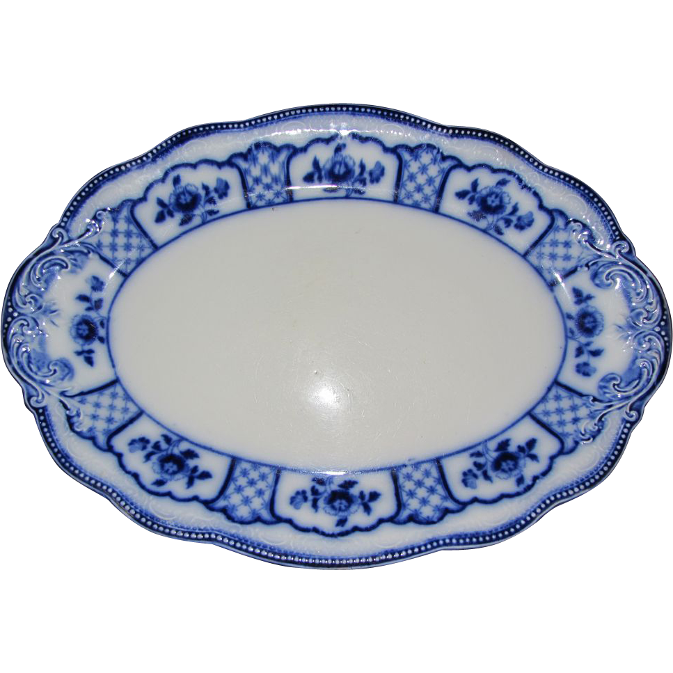 Lovely Large Flow Blue Platter, MELBOURNE, Grindley