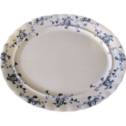Lovely Flow Blue Platter (Large) Furnivals CARNATION c. 1890