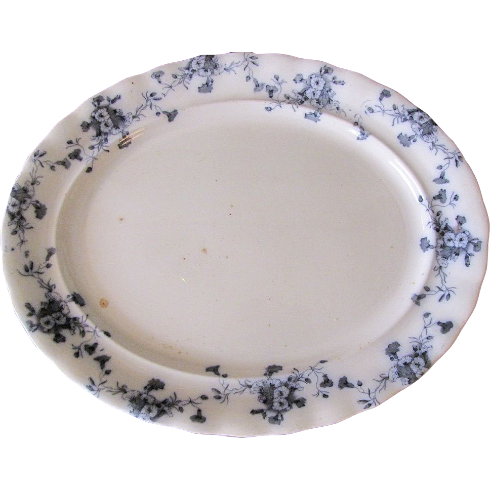 Lovely Flow Blue Platter (Medium) Furnivals CARNATION c. 1890