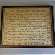 Lovely Framed Sampler 1836 Sarah Hampson BIBLE Verse DANIEL