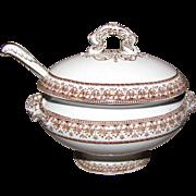 Mid 19th Century Brown Transferware Sauce Tureen w/Ladle