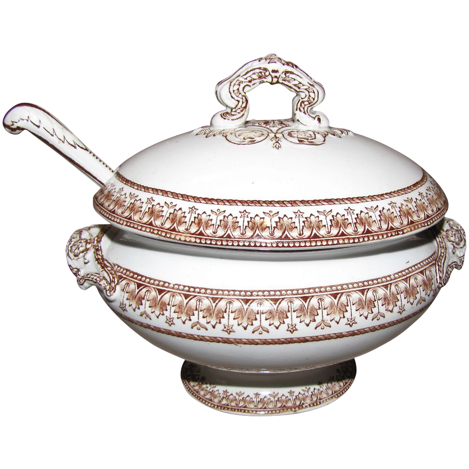 Mid 19th Century Brown Transferware Sauce Tureen w/Ladle