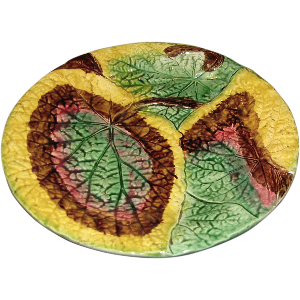 Lovely 19th C. Overlapping Begonia Leaf Majolica Plate
