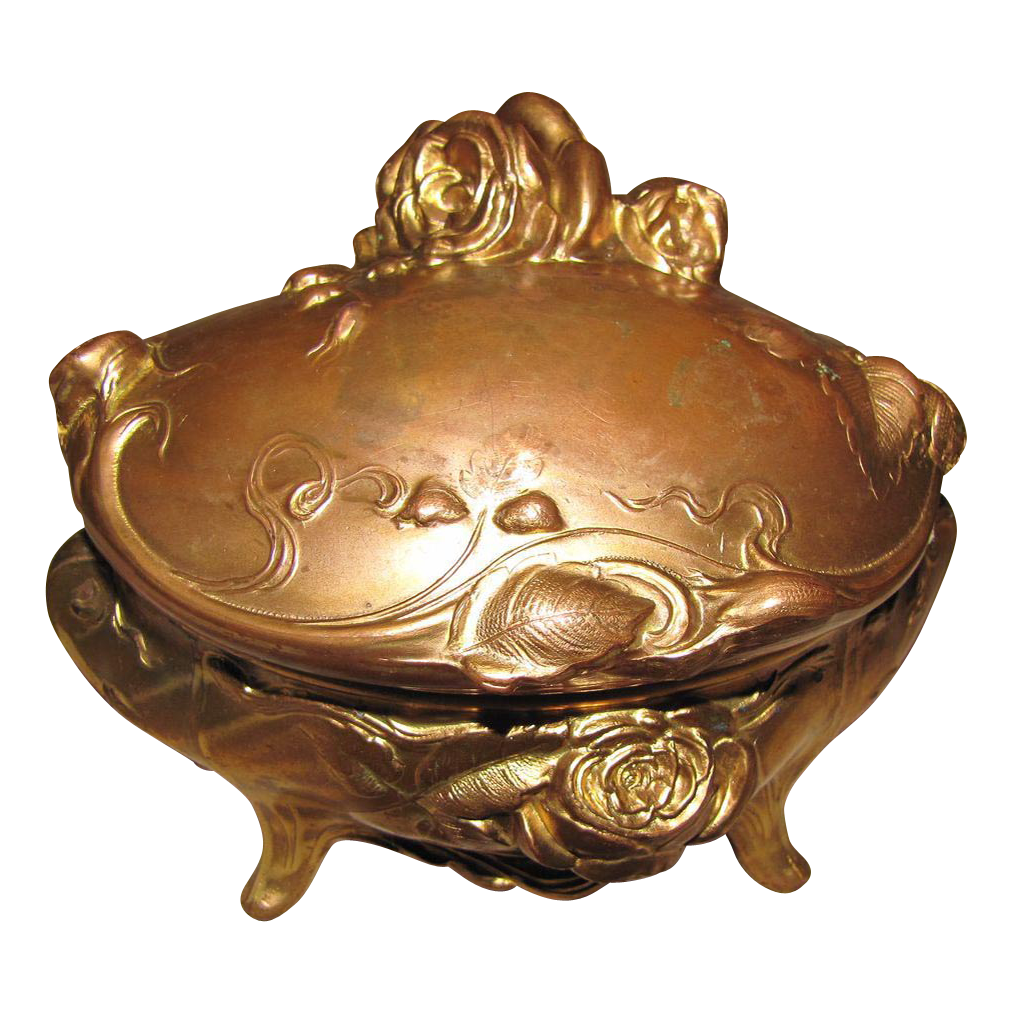 Lovely Art Nouveau Gold Washed Jewelry Box, Roses, Large