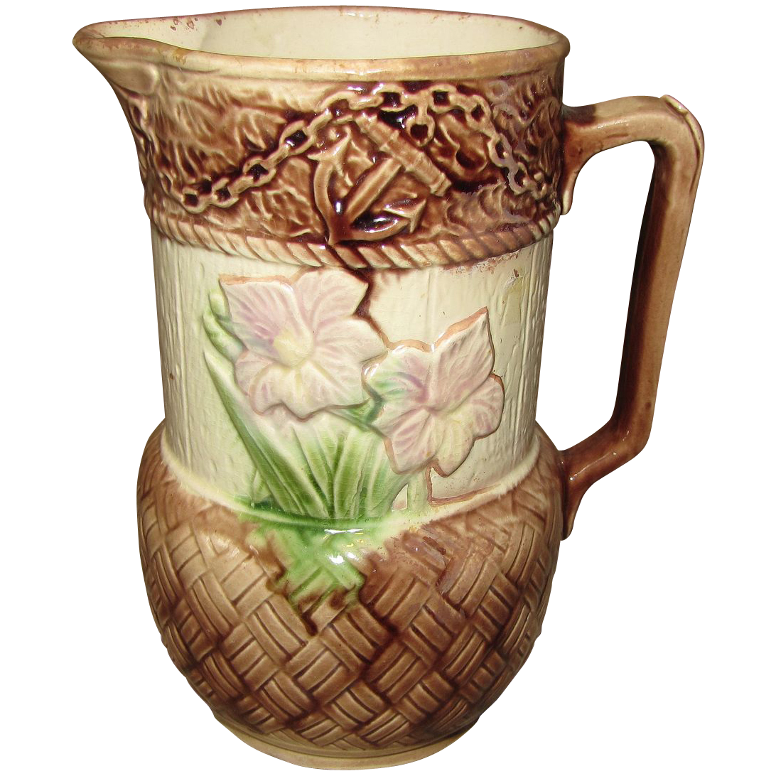 Lovely Antique Majolica Pitcher, Floral and Anchor Pitcher