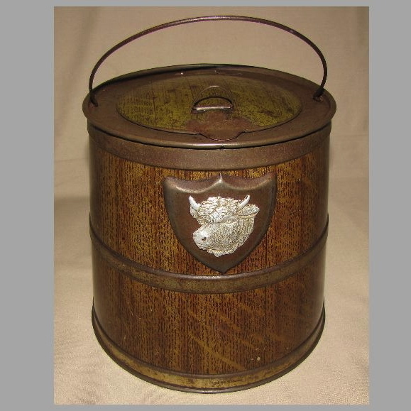 Outstanding Early 1900's Colman's Bull's Head Mustard Tin, Barrel