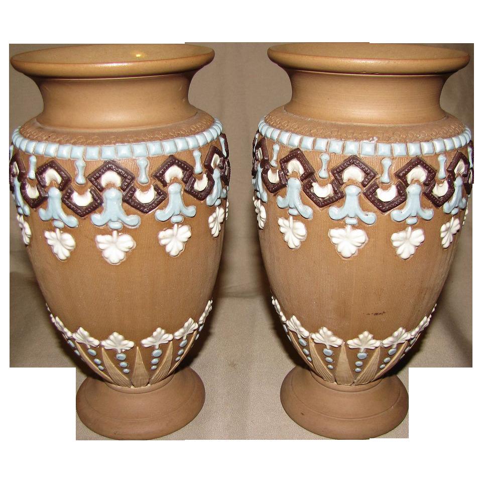 Wonderful Pair of Doulton Lambeth Silicon Stoneware Vases, ca 1893