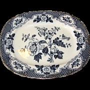 Hugh Early Flow Blue Floral Platter, VENICE, P.B.&H. Circa 1860