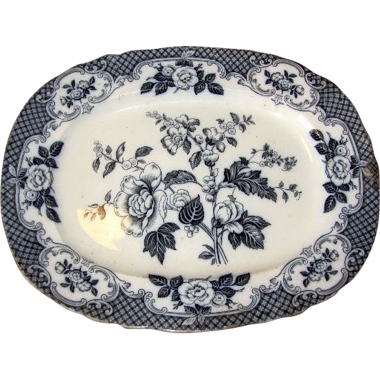 Hugh Early Flow Blue Floral Platter, VENICE, P.B.&H. Circa 1860