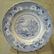 Wonderful Blue Transferware Soup Plate, SUSPENSION BRIDGE