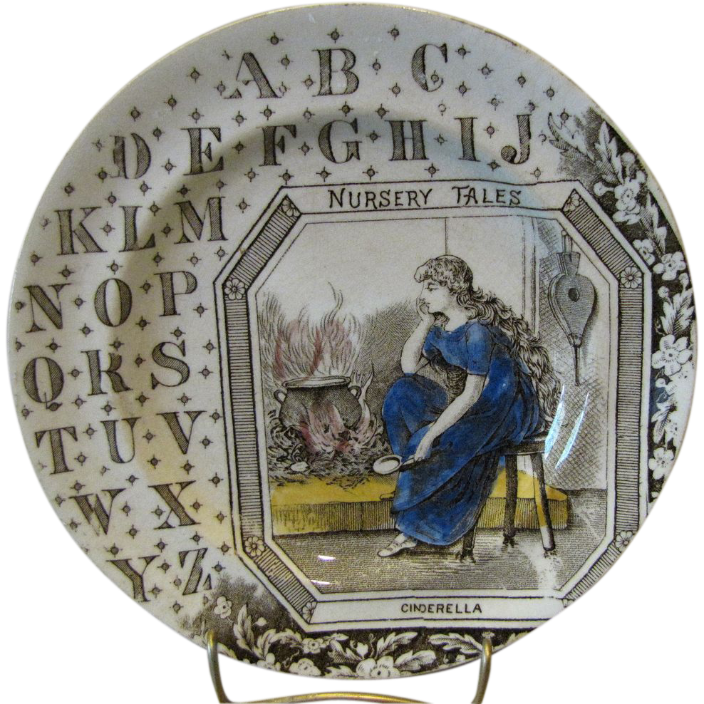Brown Transferware ABC Plate Nursery Tales CINDERELLA
