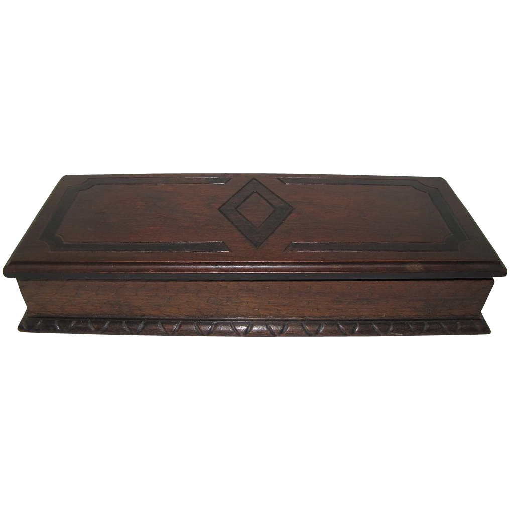 Beautiful Edwardian Wood Masculine Jewelry Box