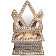 Terrific Victorian Shell Box, Vanity Dresser w/Mirror