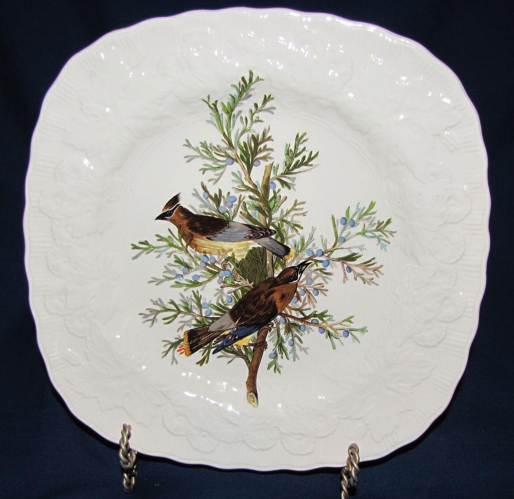 Square Audubon Dessert Plate, CEDAR BIRD, Alfred Meakin