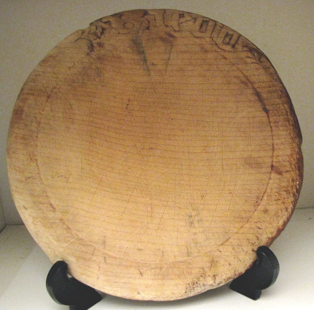 Vintage Round Carved English Bread Board