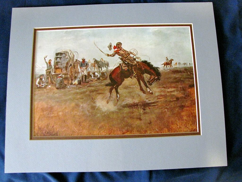 Nicely Matted Print by C. M. Russell, Rider of a Rough String