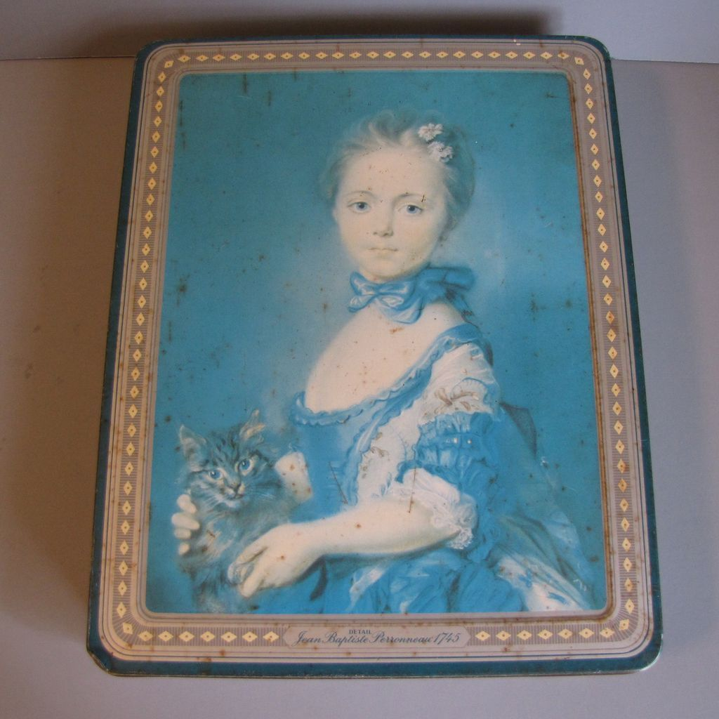Lovely Early British Biscuit Tin, Peek Frean, Girl With a Kitten (Cat)