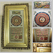 Antique Needlework Framed Under Glass, Sampler & Embroidery