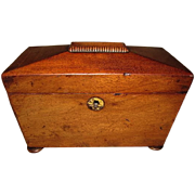 Lovely Antique Domed Mahogany English Tea Caddy