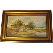 Lovely Oil Painting, Rural English Cottage Landscape, Framed