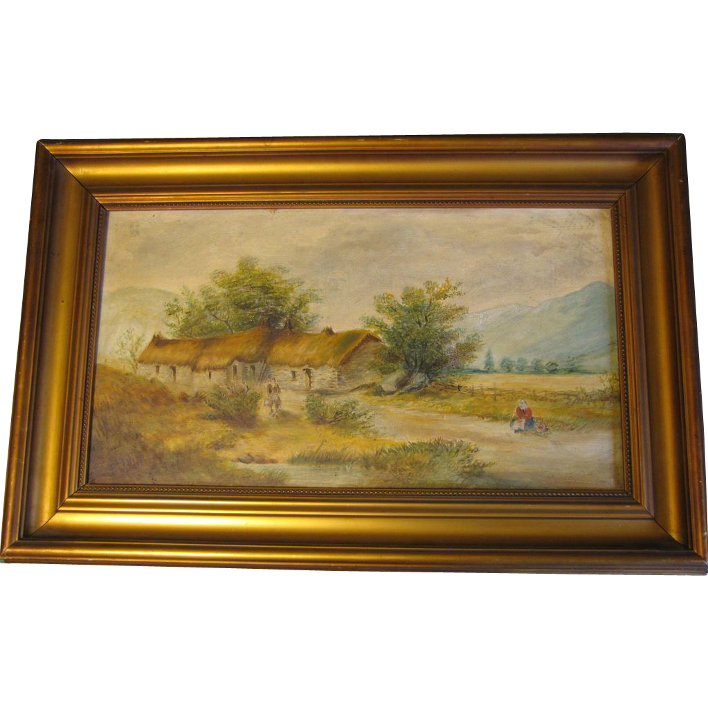 Lovely Oil Painting, Rural English Cottage Landscape, Framed