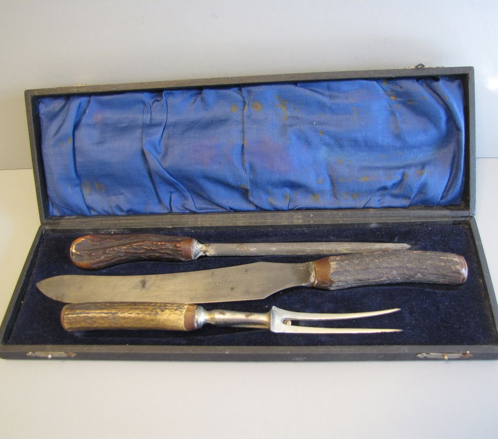 Boxed Stag Horn Handle Carving Set, John Pearce & Co. Sheffield