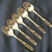 Lovely Set of 5 Demitasse Silver Plate Spoons Angora England