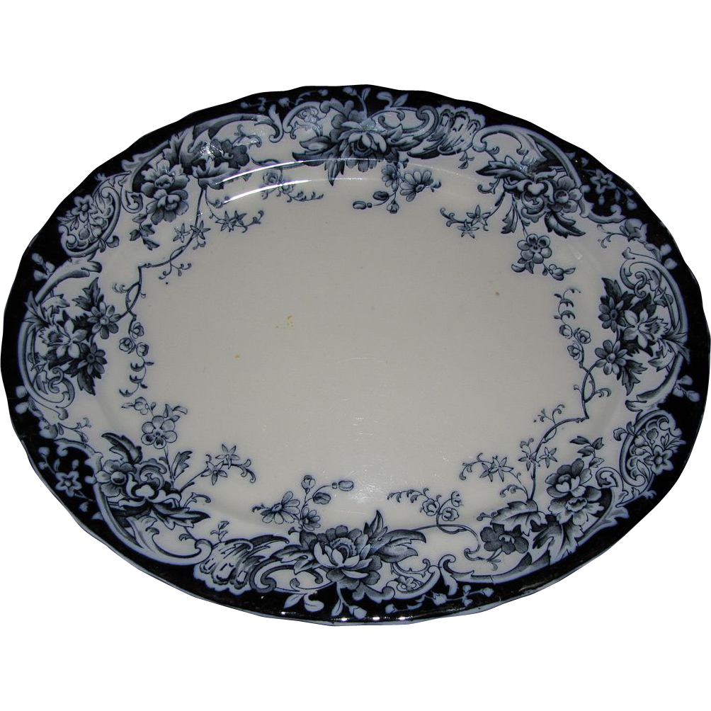 Lovely Large Flow Blue Platter, CHATSWORTH, Keeling & Co.