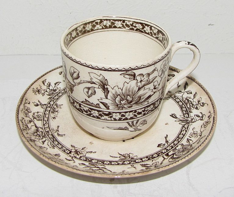 Wonderful Brown Transferware Child's Cup & Saucer, OXFORD, Doulton