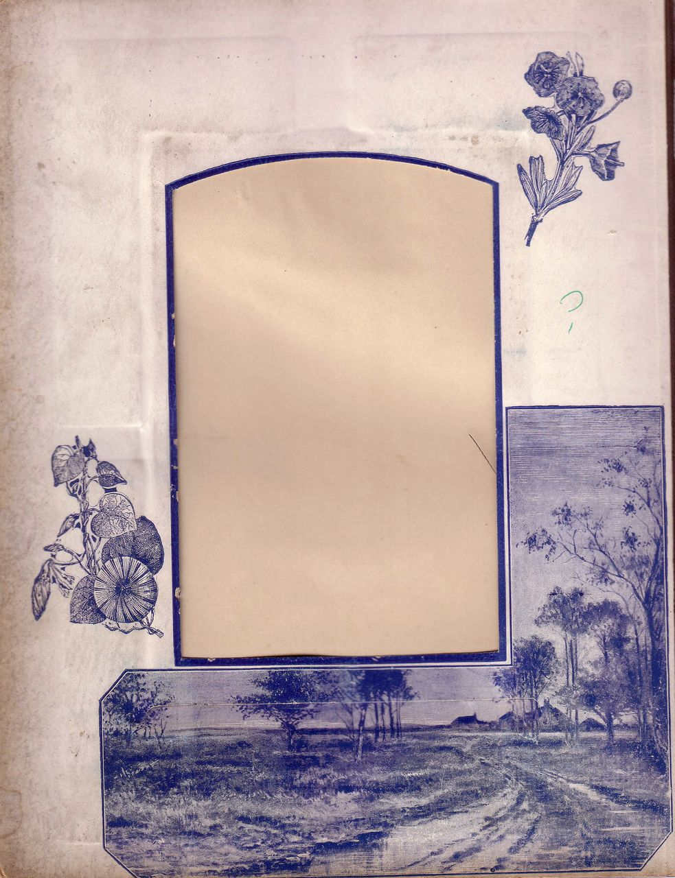 Lovely Blue Printed Page from Victorian Photo Album