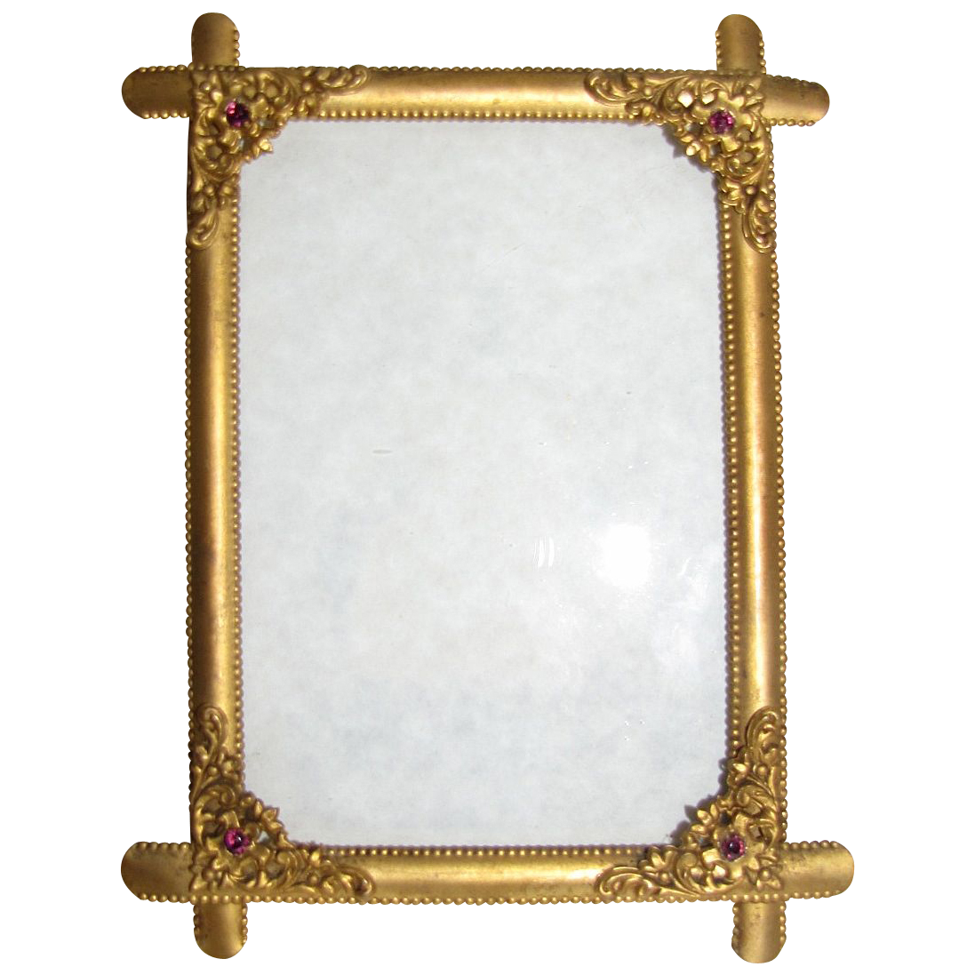 lovely antique brass table top photograph frame beaded