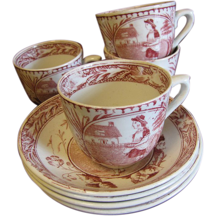 Lovely Cup & Saucer from Tea Set MISS MAY Allerton England ca 1880