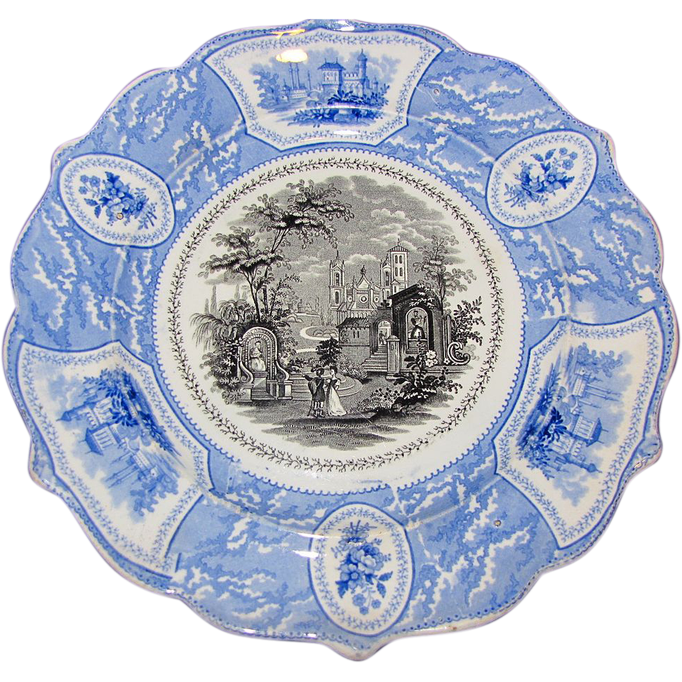 Lovely Blue & Black Romantic Staffordshire Transferware Plate