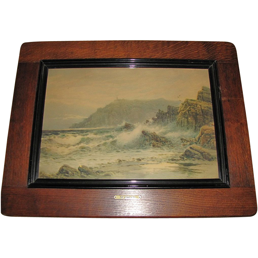 "Lovely Vintage Framed SeaScape Print ""The Lizard Head"""